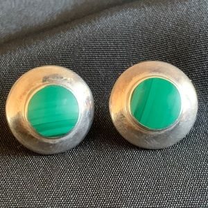 Sterling & Malachite Inlay Round Stud Earrings